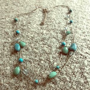 Silver blue and green bead necklace